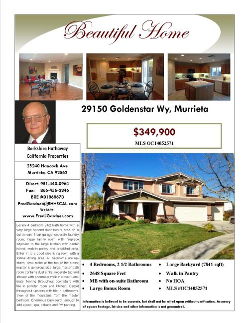 OPEN HOUSE IN MURRIETA SUNDAY 11am TO 4pm